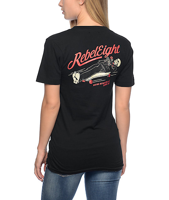 REBEL8 Nowhere Fast Black V Neck T-Shirt