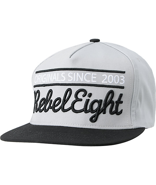 REBEL8 Originals Since Black & Grey Snapback Hat