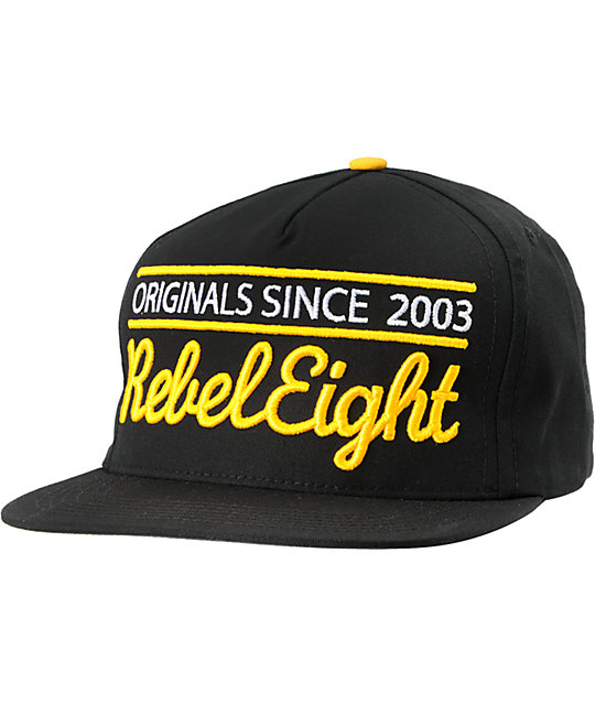 REBEL8 Originals Since Black & Yellow Snapback Hat
