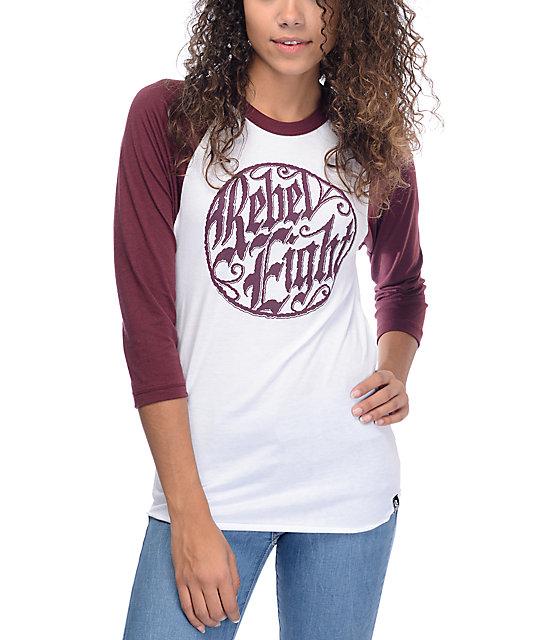 REBEL8 Ornate Badge White & Burgundy Baseball T-Shirt