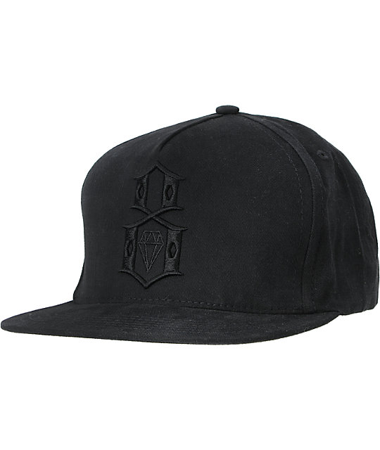 REBEL8 R8 Logo Black Out Black Snapback Hat