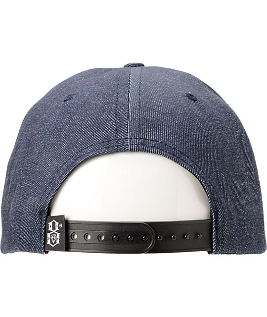 REBEL8 R8 Logo Raw Denim Snapback Hat