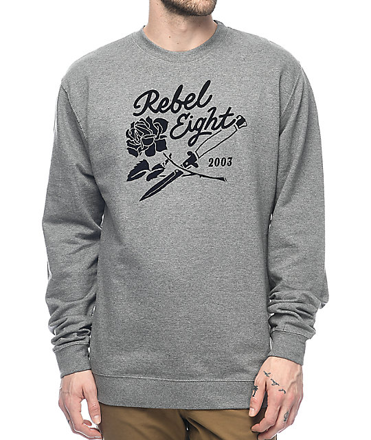 REBEL8 Roses And Daggers Heather Grey Crewneck Sweatshirt