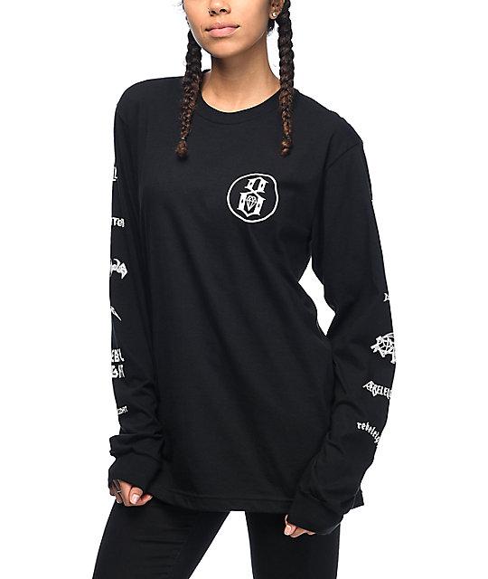REBEL8 Skeletons Of Society Black Long Sleeve T-Shirt