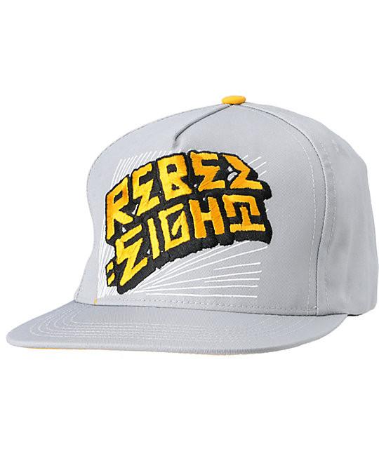 REBEL8 Warp Gold & Grey Snapback Hat