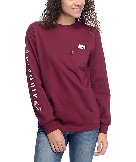 RIPNDIP Lord Nermal Burgundy Long Sleeve T-Shirt