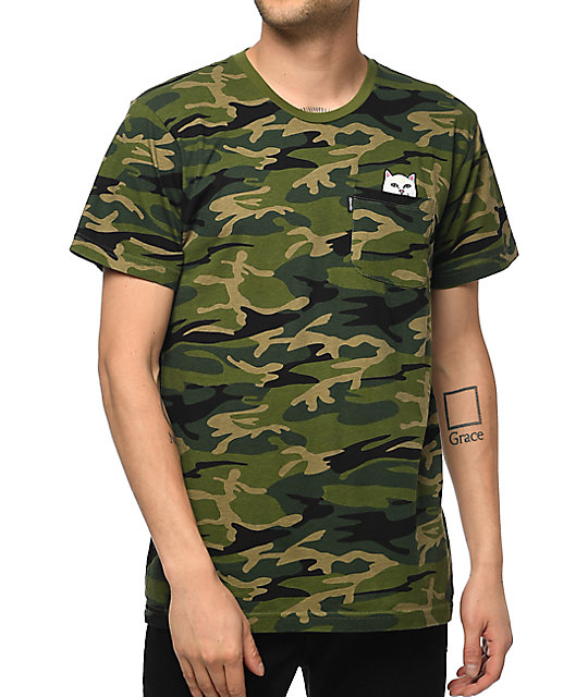 Ripndip lord nermal green camo pocket t shirt zumiez for Camo print t shirt
