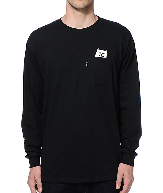 RIPNDIP Lord Nermal Pocket Long Sleeve Black T-Shirt
