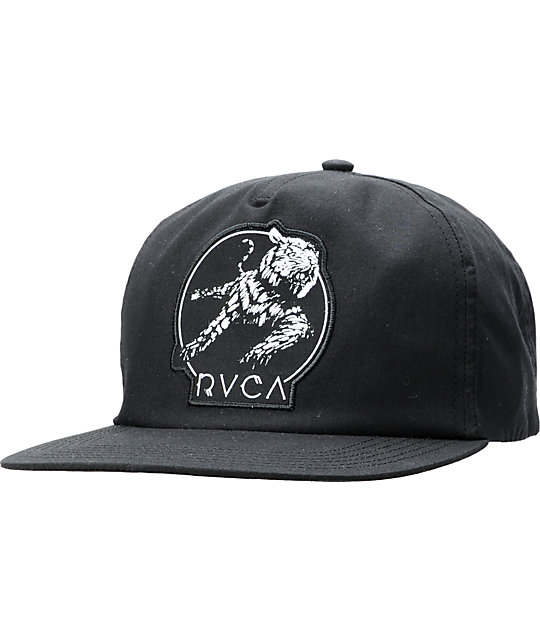RVCA  Tiger Hi-Res Black Snapback Hat