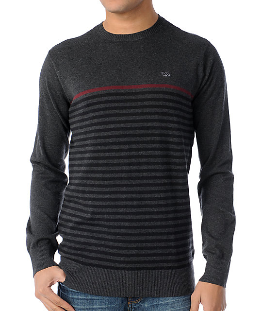 RVCA Abner Grey Striped Crew Neck Sweater