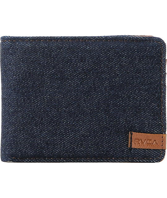 RVCA Arty Navy & Brown Bifold Wallet