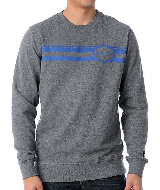 RVCA Austin Grey Crew Neck Sweatshirt