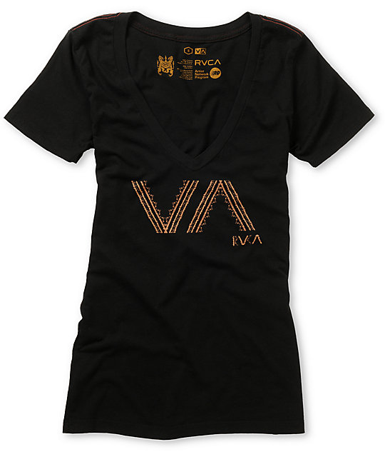 RVCA Batik VA Black V-neck T-Shirt