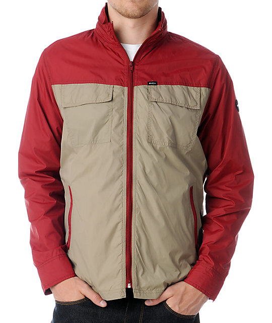 RVCA Bay Blocker Red & Khaki Windbreaker Jacket