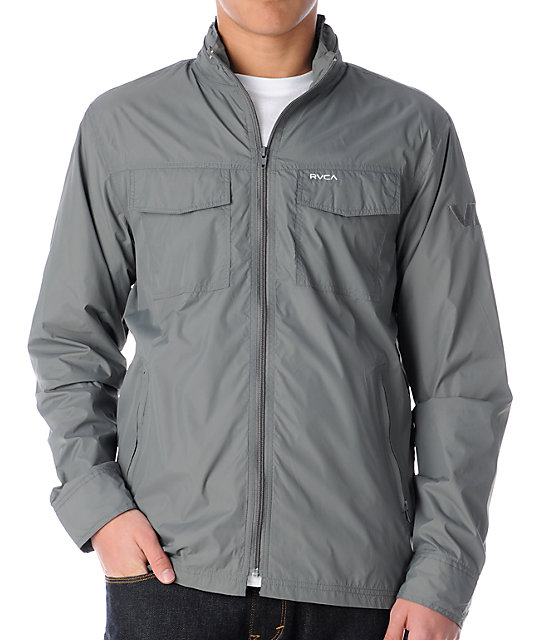 RVCA Bay Breaker Grey Windbreaker Jacket