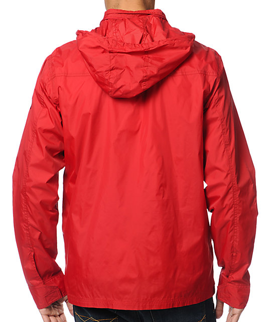 RVCA Bay Breaker Red Windbreaker Jacket