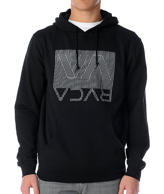 RVCA Bent Stripes Black Pullover Hoodie