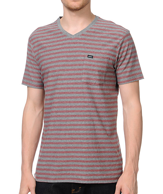 RVCA Bivy Grey V-Neck Knit Pocket T-Shirt