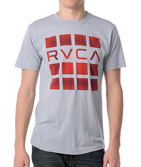 RVCA Blurred Out Grey & Red Mens T-Shirt