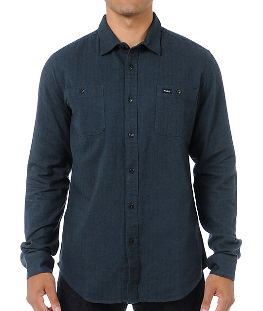 Rvca bone dark blue button up shirt zumiez for Blue button up work shirt