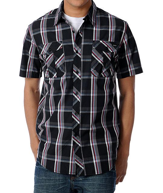 RVCA Booyah Short Sleeve Black Plaid Woven Shirt