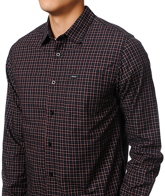 RVCA Borealis Black Plaid Flannel Shirt