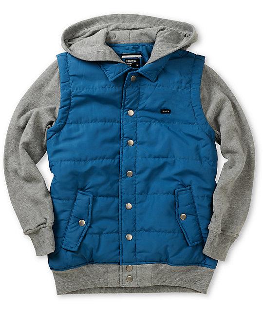 RVCA Boys Puffer Blue & Grey Vest Hoodie