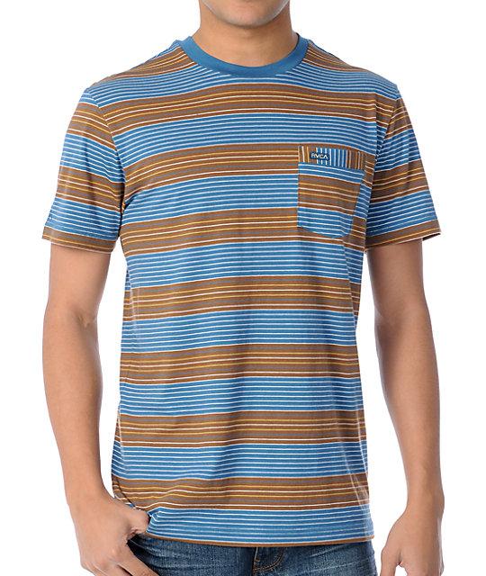 RVCA Burner Blue & Brown Stripe Knit Crew Neck T-Shirt