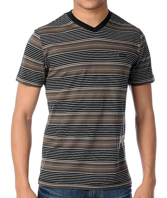 RVCA Burner Striped V-Neck T-Shirt