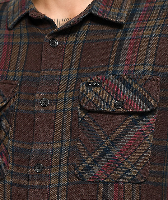 RVCA Camino Brown, Navy & Burgundy Flannel Shirt