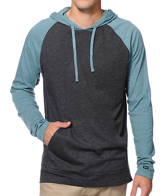RVCA Castro Charcoal & Teal Long Sleeve Hooded Shirt at Zumiez : PDP