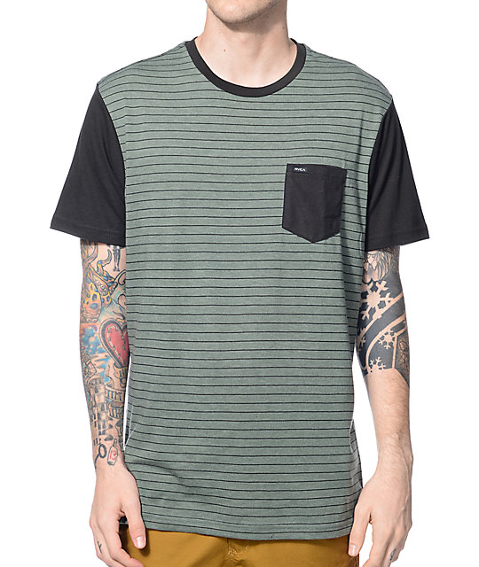 RVCA Change Up Green & Black Pocket T-Shirt