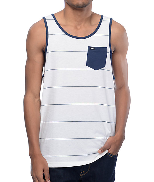 RVCA Change Up White & Navy Striped Tank Top