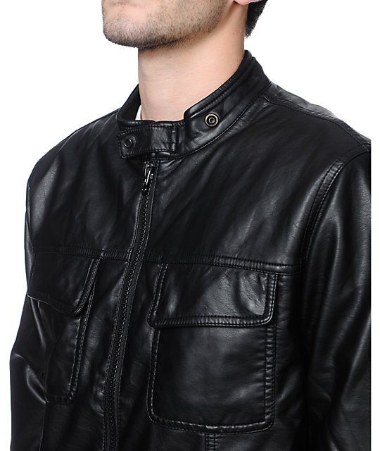 RVCA Crasher Black Faux Leather Jacket