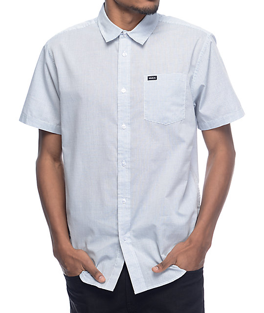 RVCA Curren White & Blue Stripe Woven Button Up Shirt