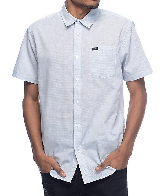 Rvca Curren White Blue Stripe Woven Button Up Shirt