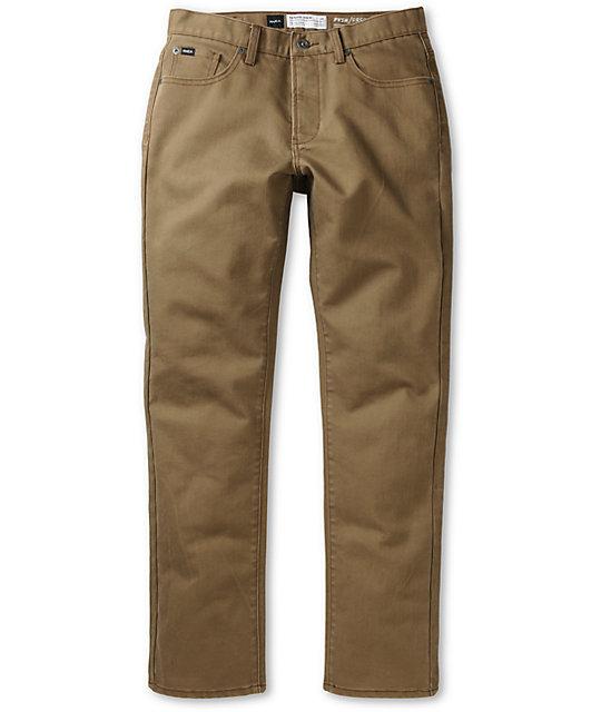 RVCA Daggers Coolmax Brown Slim Jeans