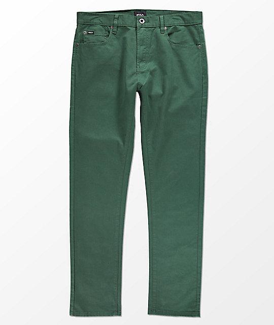 RVCA Daggers Dark Green Twill Slim Fit Jeans