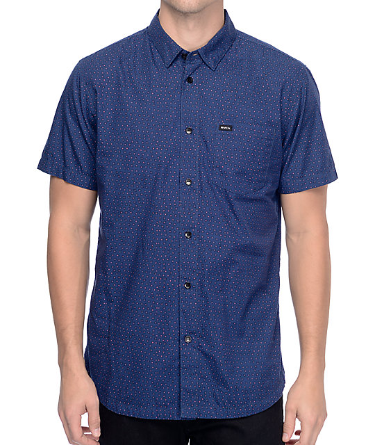 Rvca Daisy Dot Woven Navy Button Up Shirt