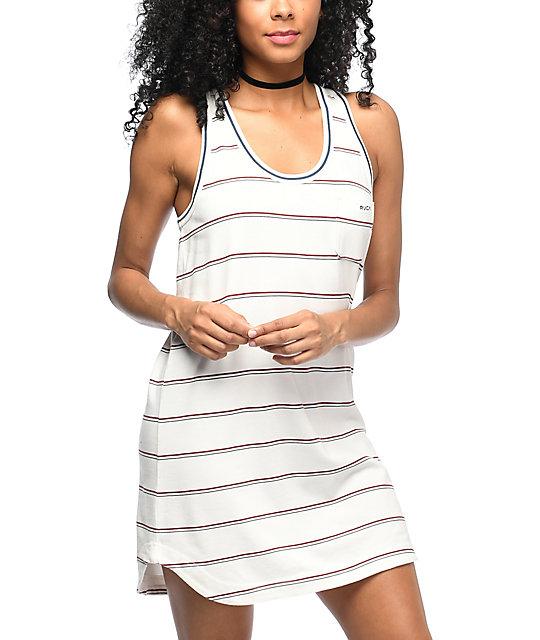 RVCA Deviate White Striped Pocket Tank Dress