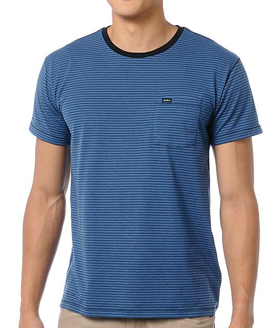 RVCA Dewey Blue & Black Striped T-Shirt