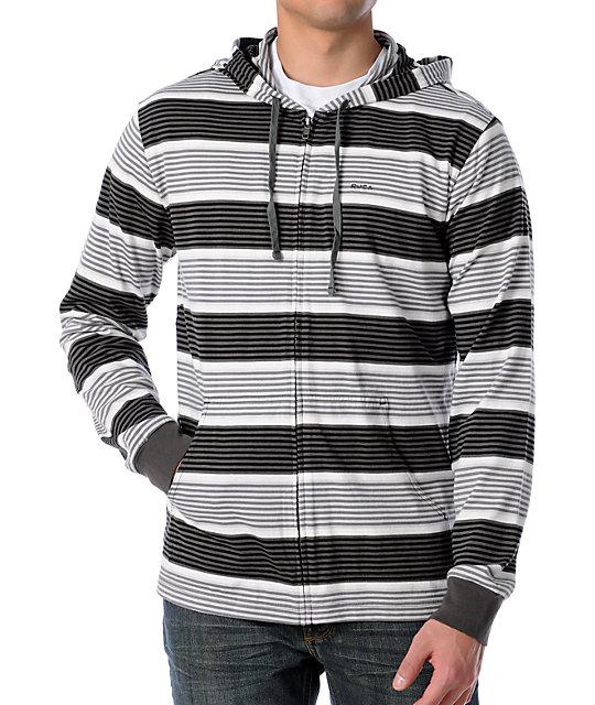 RVCA Dirty Birdie Black & Grey Striped Hoodie