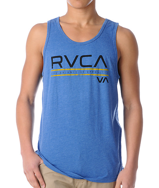 RVCA Distressed Blue Tank Top