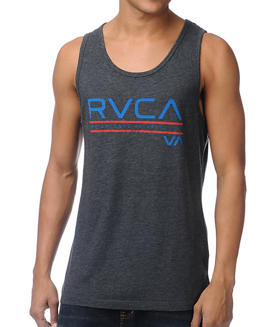 RVCA Distressed Stripe Charcoal Grey Tank Top