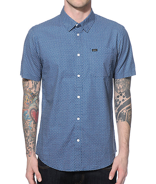 RVCA Done Up Blue Button Up Shirt