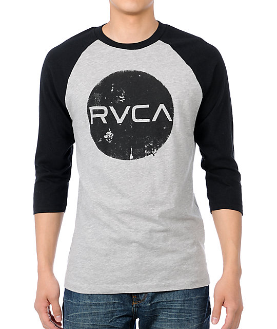 RVCA Dotty Grey & Black Baseball T-Shirt