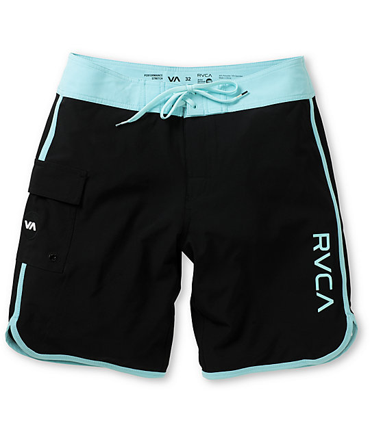 RVCA Eastern 20 Black & Aqua Board Shorts