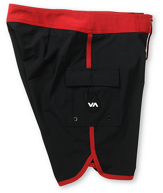 RVCA Eastern Black & Red 20 Board Shorts