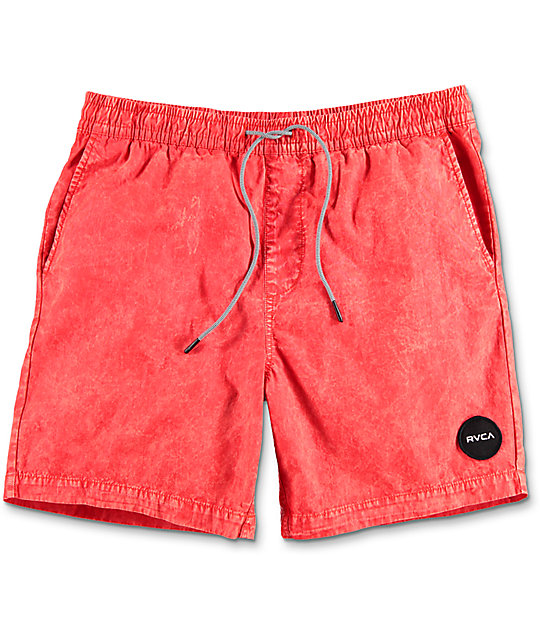 RVCA Fade Red Elastic Hybrid Shorts