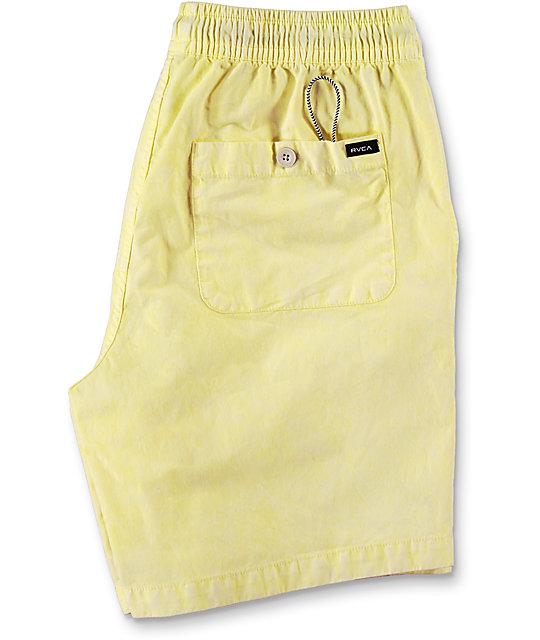 RVCA Fade Yellow Elastic Hybrid Shorts
